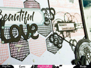 Page freestyle Graffiti Girl, beautiful love, die, étiquette, tampons, objectif, hexagones, ronds