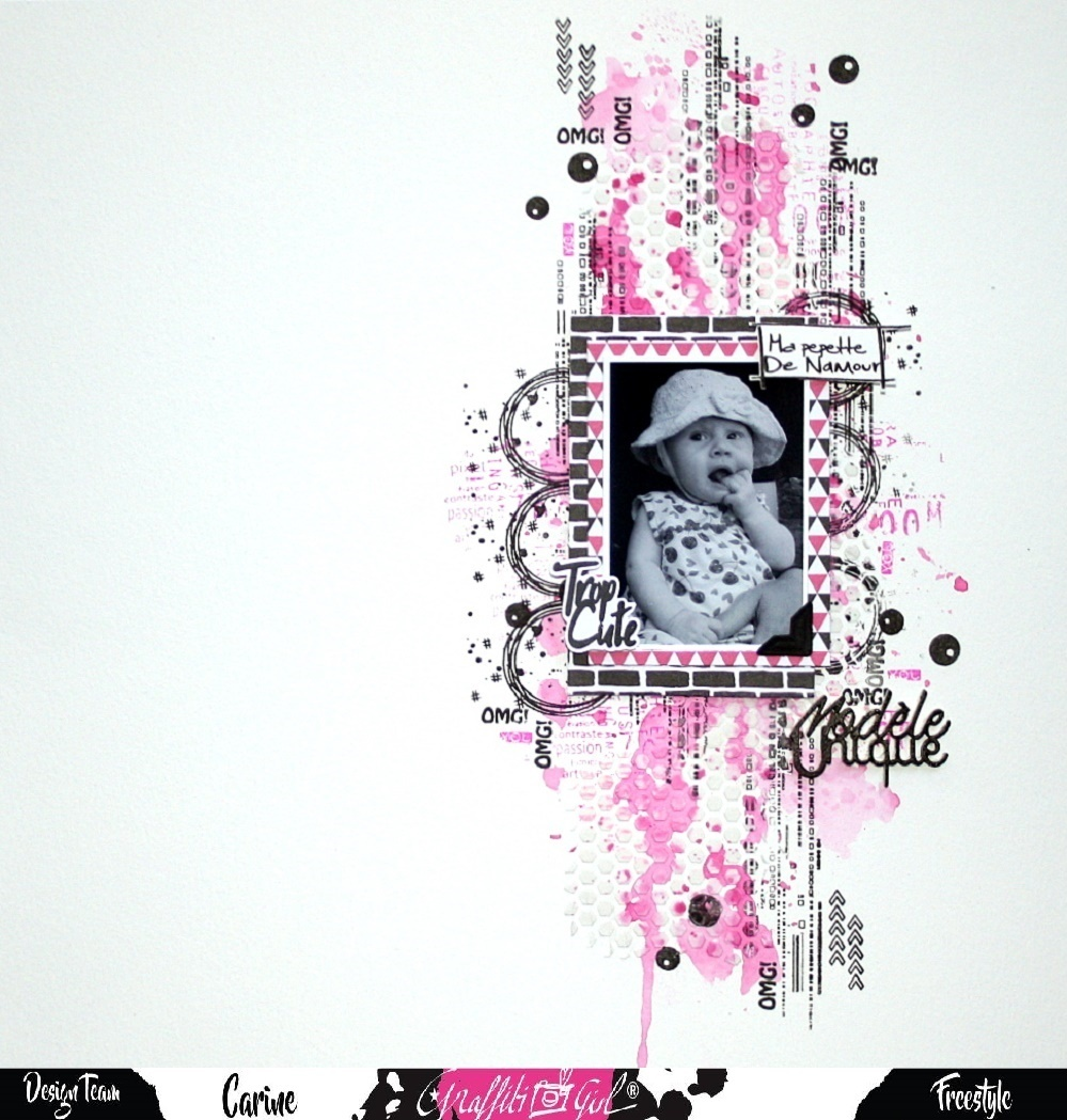 Page - Graffiti'Girl - tampons clear - petite puce - Team - papiers Girly