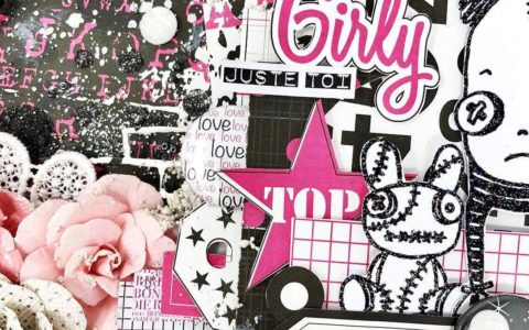 Collection Girly de graffiti Girl étiquette stickers tag rose et noir black pink mixed média